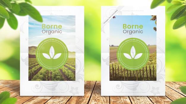 A5 flyer mockup on organic leafy