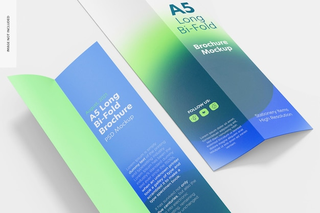 A5 long bi-fold brochures mockup, close up