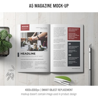 A5 magazine mockup on table