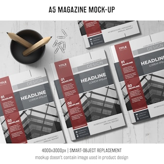 A5 magazine mockup of three