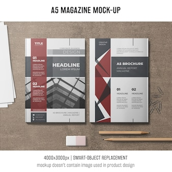A5 magazine mockup of two
