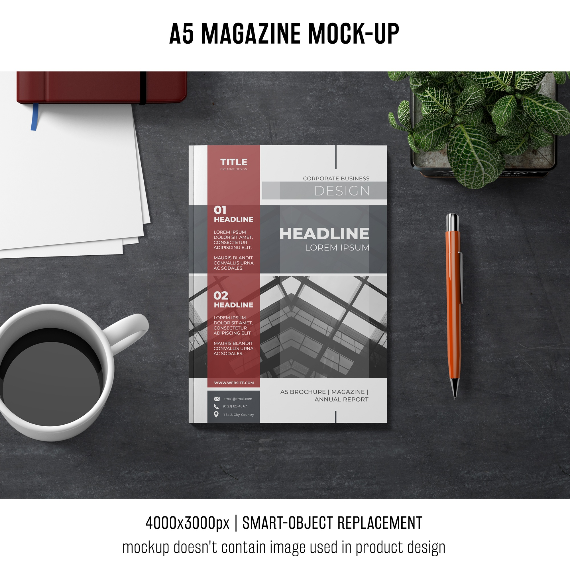 A5 magazine mockup with coffee