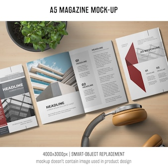 A5 magazine mockup with headphones
