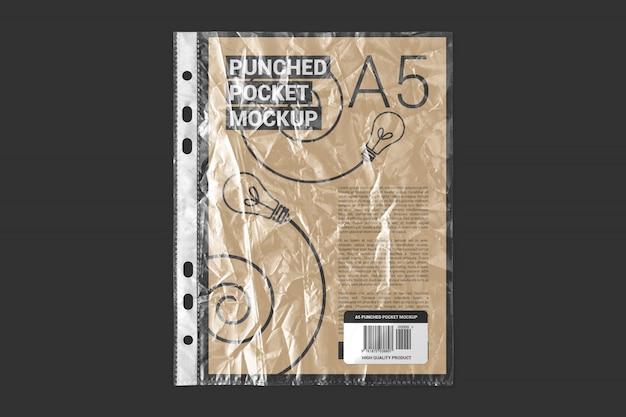A5 paper in crumpled plastic pocket mockup
