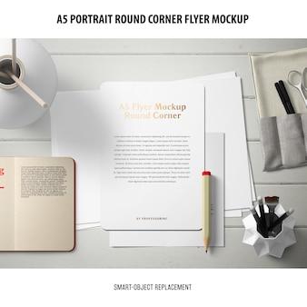 A5 round corner flyer mockup