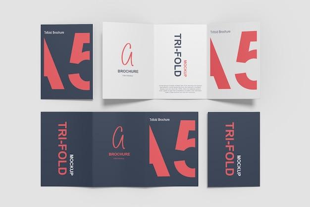 Мокап брошюры a5 trifold