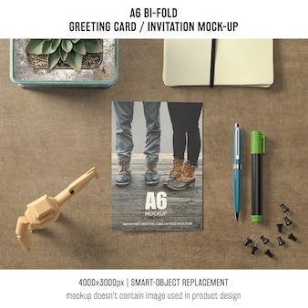 A6 двухцветная поздравительная открытка