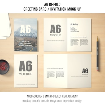 A6 bi-fold greeting card mockup design