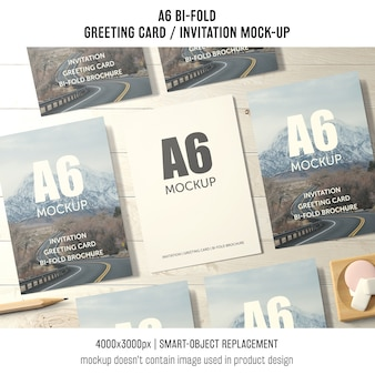 A6 bi-fold greeting card mockup of seven