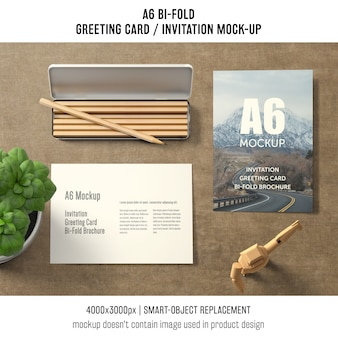 A6 би-кратный макет поздравительной открытки с базиликом