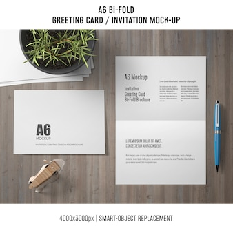 A6 bi-fold greeting card mockup with plant