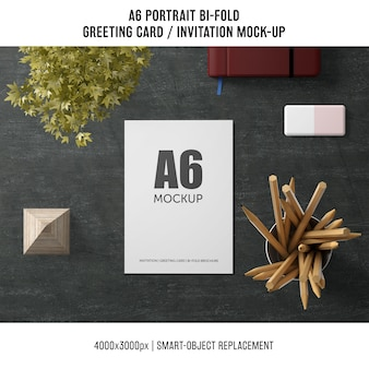 A6 bi-fold greeting card mockup