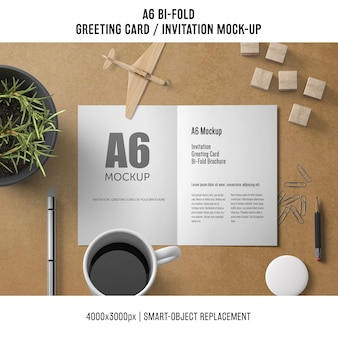 A6 bi-fold greeting card template with coffee