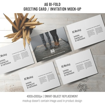 A6 bi-fold invitation card template with pencils