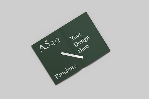 A6二つ折りパンフレットのモックアップ