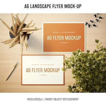 A6 landscape flyer mock-up with wooden pencils