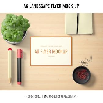 A6 landscape flyer mock-up