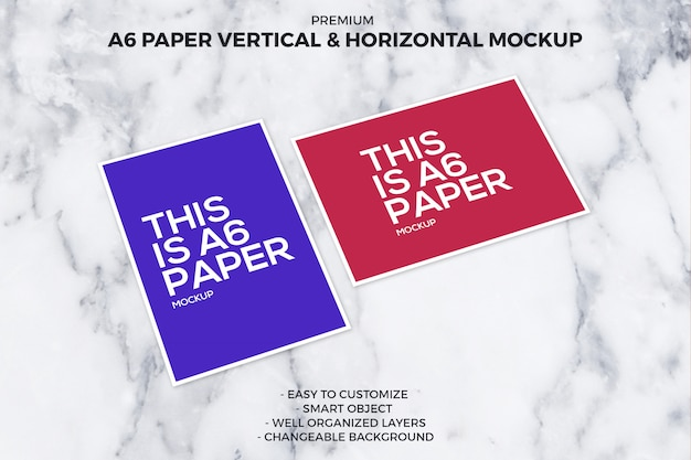A6 paper vertical and horizontal mockup