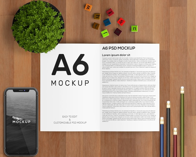 A6パンフレットモックアップ付きステーショナリーコンセプト