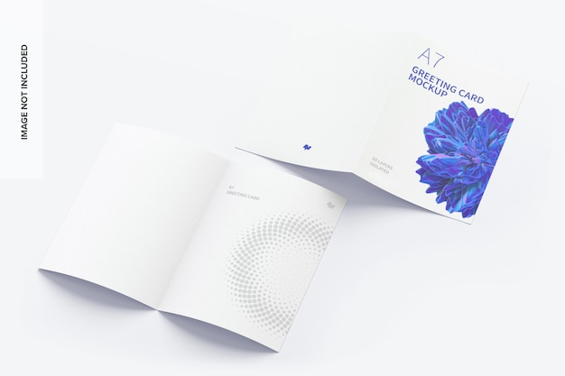 A7 greeting card mockup spread exterior and interior pages