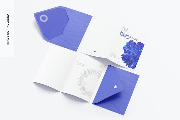 봉투가있는 a7 인사말 카드 목업