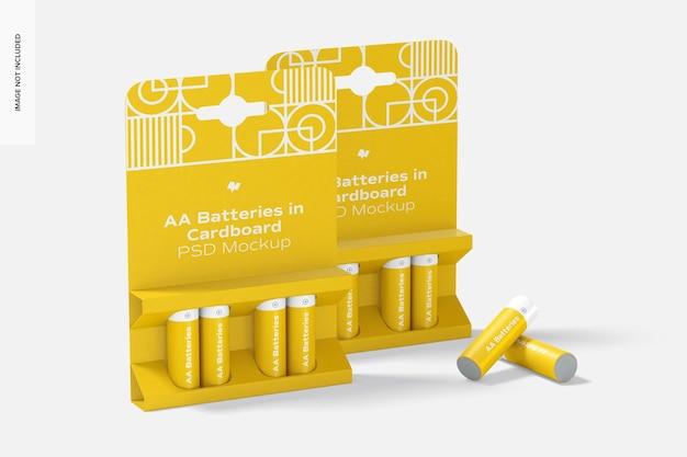 Aa batteries in cardboard mockup