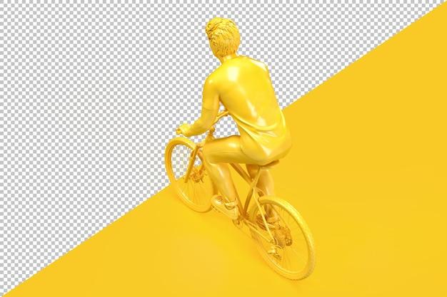自転車に乗ってカジュアルな服を着た男の背面図の上