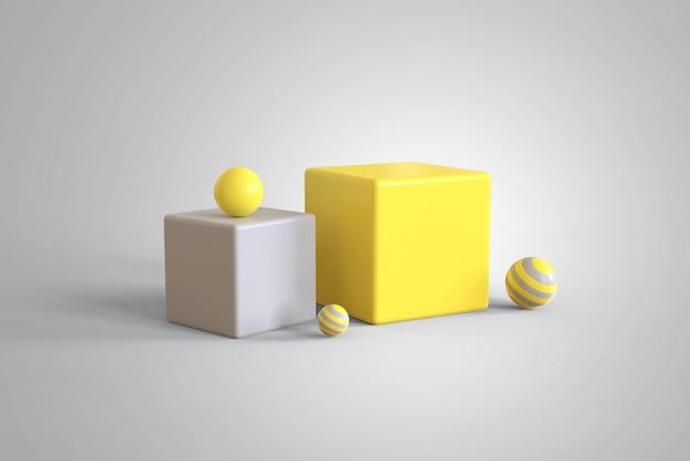올해의 색상으로 추상적 인 3d 도형