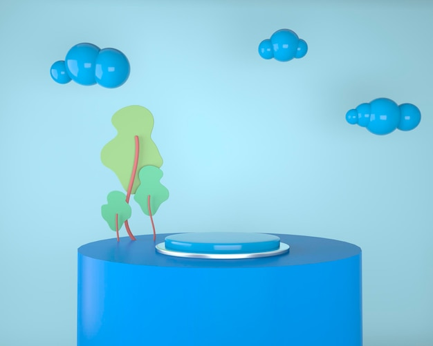 Abstract backdrop for product display, podium with trees and plants, 3d illustration