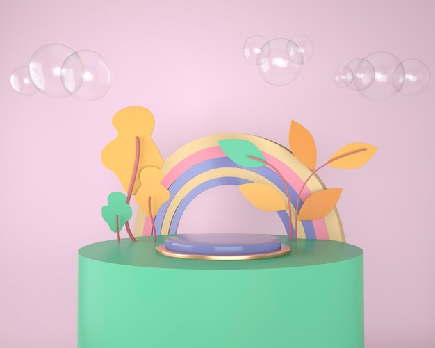 Abstract backdrop for product display, podium with trees and plants