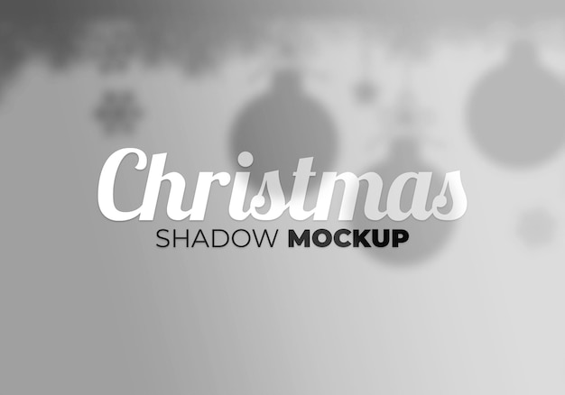 Abstract background christmas shadow mockup with ball and leaves on a white wall