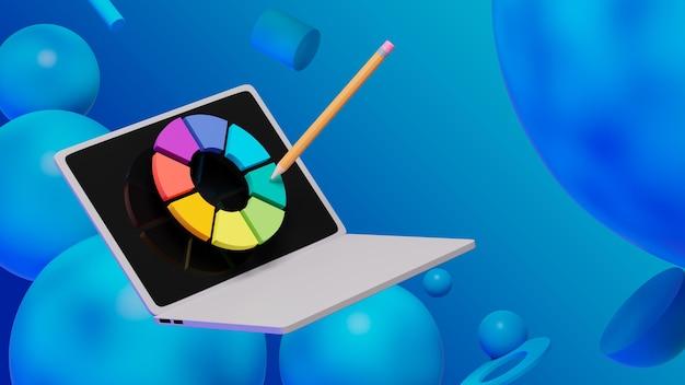 노트북과 추상적인 배경