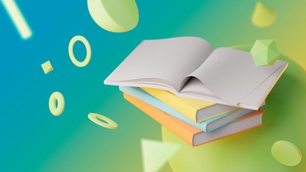 열린된 책으로 추상적인 배경
