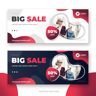 Abstract banner template with gradient waves