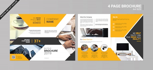 2 Page Brochure >> Abstract Bi Fold Brochure Psd File Premium Download
