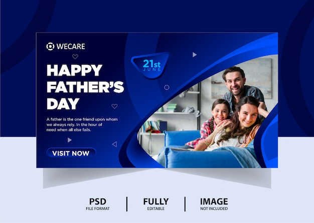 Abstract blue color father's day web banner design