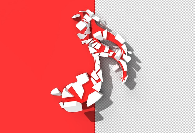 Abstract broken music note transparent psd file.
