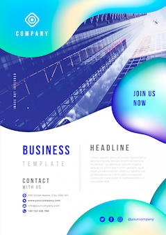 Abstract business flyer with liquid elements psd template
