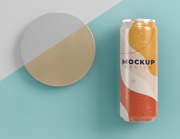 Abstract can packaging concept mock-up