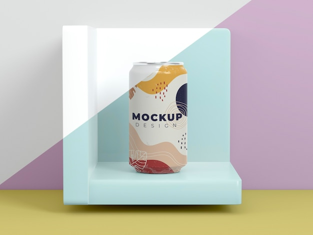 Abstract can packaging mock-up