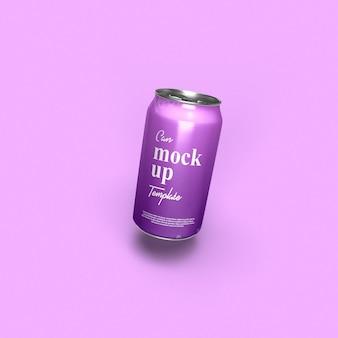 ソーダ缶モックアップの正面図をクローズアップ