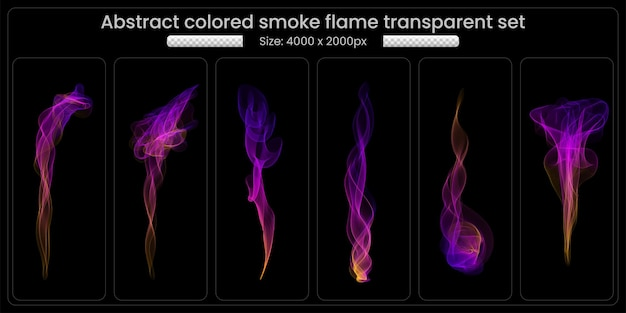 Abstract colored smoke flame transparent set