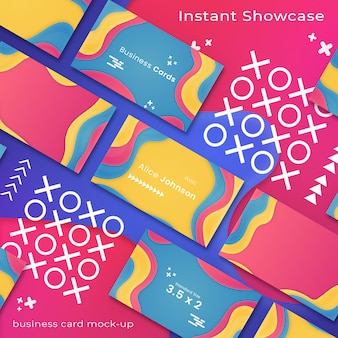 Abstract, colorful business card mockup on colorful background