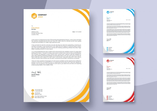 Abstract colorful business letterhead template design
