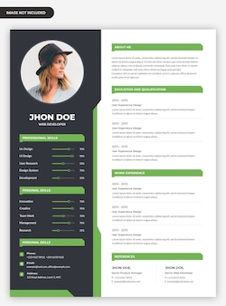 Abstract curriculum vitae template with photo