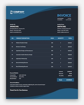 Abstract dark blue business invoice template