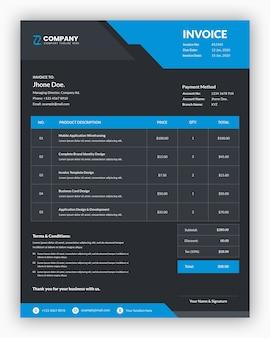 青いビジネス請求書テンプレートデザインと抽象的な暗い