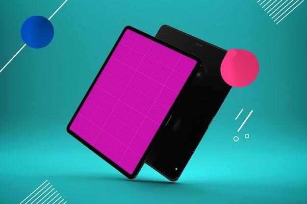 Абстрактный дизайн с розовым экраном планшета