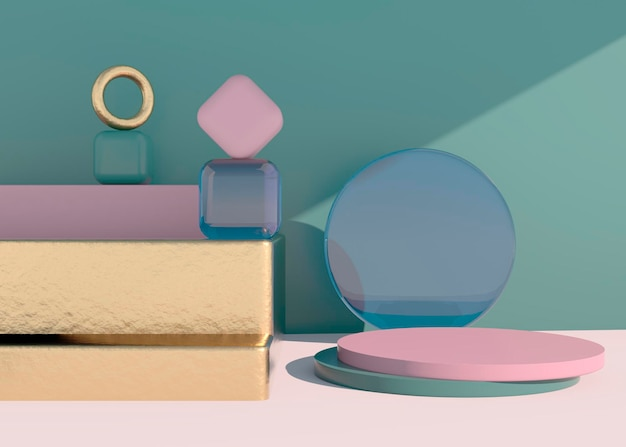 그림자와 함께 추상 빈 연단입니다. 제품 프레젠테이션을 위한 모의 스탠드. 3d 렌더. 최소한의 개념입니다. 제품을 표시합니다.