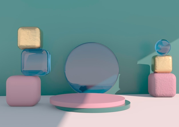 Abstract empty podium with shadow. mock up stand for product presentation. 3d render. minimal concept. display product.